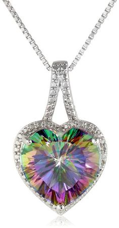 Sterling Silver and Mystic Fire Topaz Diamond-Accented Heart Pendant Necklace, 18 I Love Jewelry, Heart Jewelry, Jewelry Box, Jewelry Accessories, Fine Jewelry, The Bling Ring, Bling Bling, Ring Armband, Mystic Fire Topaz