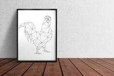 Geometric bird print Rooster poster Line art Minimal decor TO345