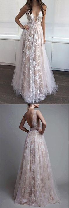 A Line Prom Dresses,V-neck Sexy Evening Party Dresses, Long Formal Dress #lace #long #prom #gown #vneck #okdresses
