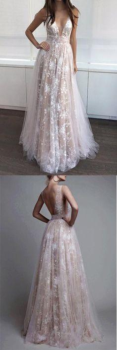 A Line Prom Dresses,V-neck Sexy Evening Party Dresses, Long Formal Dress #lace #long #prom #gown #vneck #okdresses