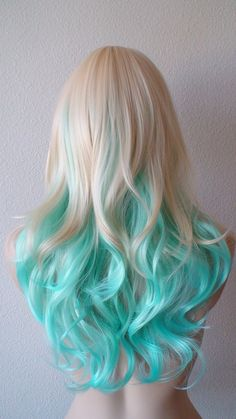 Blonde Mint/Teal color Ombre wig. Medium length curly by kekeshop