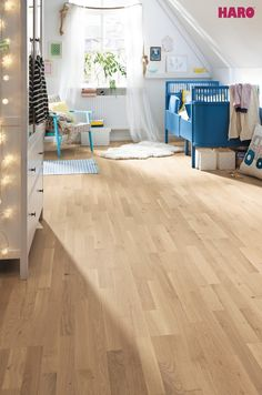 Simple, Natural and Bright.The Oak Light White is ideal for a stylishly furnished, healthy children's room. The gentle colours create a cosy and soft atmosphere.   www.haro.co.nz#ecofriendly #sustainability #hardwearing #easytomaintain #moistureprotecti…