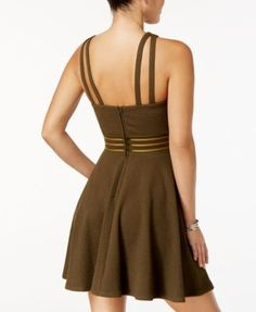 City Studios Juniors' Strappy-Back Fit & Flare Dress - Green 15