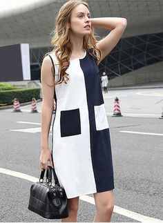 Latest casual dress designs black and white stitching women summer dress Girls Fashion Clothes, Fashion Dresses, Clothes For Women, 60 Fashion, Womens Fashion, Colorblock Dress, Simple Outfits, Beautiful Dresses, Ideias Fashion