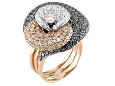 18kt Rose  White Gold Triple Row Cluster Ring. $6,720.