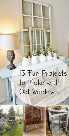 Reuse old windows, DIY window projects, DIY projects, DIY home decor, things to… Vintage Windows, Old Windows, Antique Windows, Cool Diy Projects, Home Projects, Repurposed Furniture, Diy Furniture, Repurposed Shutters, Furniture Stores