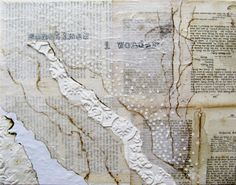 "ancagray: "" my newest piece, titled SOMETIMES I WONDER. this piece is truly a labor of love. it features rare and delicate antique book pages and vintage wallpaper i collected in my travels through eastern europe. and it it painstakingly collaged..."