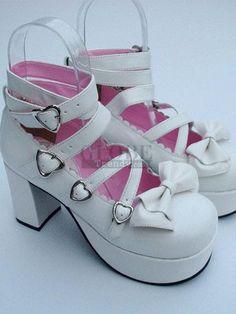 6e8ae214f0c112 3.1   Heel 1.4   Platform White PU Lolita Shoes
