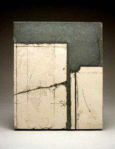 "Margaret Boozer Existing to Remain, 2 (2005) porcelain/stoneware mix, slip, concrete 17"" x 12"" x 2"""