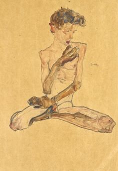 View SITZENDER JUNGE (SEATED BOY) By Egon Schiele; Gouache, watercolor and black crayon on paper; Access more artwork lots and estimated & realized auction prices on MutualArt. Gustav Klimt, Life Drawing, Figure Drawing, Painting & Drawing, Egon Schiele Drawings, Art Sketches, Art Drawings, Franz Kline, Arte Cyberpunk