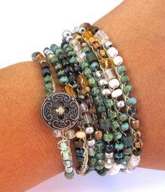 Crochet wrap bracelet / necklace beaded endless by CoffyCrochet - SOLD