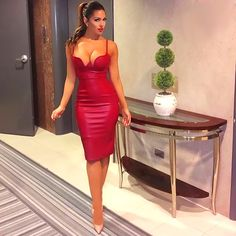 Cheap dress motorcycle, Buy Quality dress winter directly from China dress fantasy Suppliers: 2017 Women Winter PU leather dress BUSTIER PENCIL celebrity sexy bodycon party dresses nude pink red black kim kardashian dress Leather Midi Dress, Red Midi Dress, Bustier Dress, Leather Dresses, Leather Bustier, White Dress, Kim K Dresses, Tight Dresses, Sexy Dresses