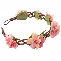 Braided vine crown scattered with pink cherry blossom flowers. Wear as a festival forehead band or as a classic headband. Shop flower crowns at Rock N Rose!