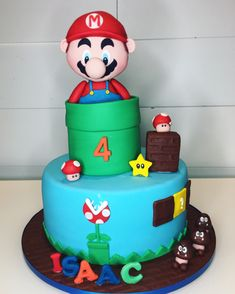 Beautiful Mario bros cake made by Liliana Da Silva from Sugarella Sweets Mario Bros Cake, Cakes And More, How To Make Cake, Cake Ideas, Wedding Cakes, Birthday Cake, Sweets, Baby Shower, Desserts