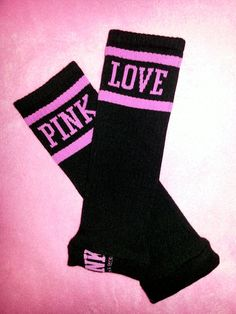 Baby Leggings/Warmers: Black Victorias Secret Brand PINK Collection with Hot Pink Wording. $22.50, via Etsy.