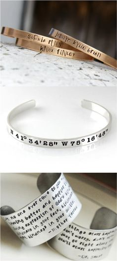 Personalize a bracelet with your name, initials, a date, even coordinates! These are a fantastic and thoughtful birthday, anniversay, mother's day or Valentine's day gift. | Made on Hatch.co by people who care