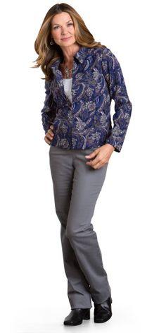 Printed Moleskin Zip up Jacket Outfit - Christopher & Banks