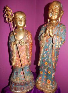 ANTIQUE Chinese CLOISONNE PAIR LOT FIGURE Buddha SCHOLAR Bronze Huge CHRISTMAS