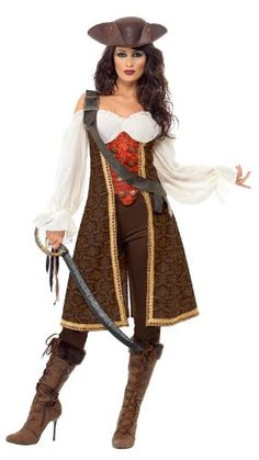 Smiffy's High Seas Pirate Wench Costume, Brown/White/Red, Large  - Click image twice for more info - See a larger selection womens  pirate costume at  http://costumeriver.com/product-category/womens-pirate-costume/ - womens, holiday costume , event costume , halloween costume, cosplay costume, classic costume, scary costume, pirate, classic costume, clothing