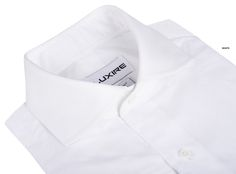 Albini: End on End White Lightweight quality dress shirt in 100% cotton. Features: Hidden button down NOBD collar with 1-button cuff.