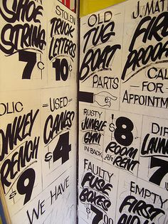 hand-lettered signage