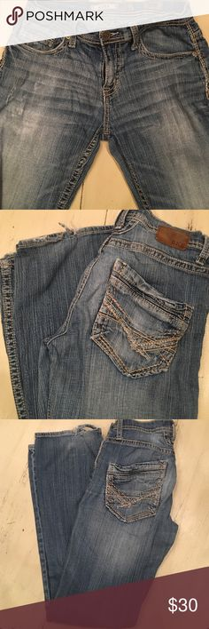 BKE Aiden Denim Jeans BKE Aiden Denim Jeans leg bottoms are frayed and worn. Distressed with opening on left leg. 29w x 32L BKE Jeans