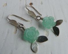 Sterling Silver leaf & Resin Aqua Rose Earrings Hallmarked. - Edit Listing - Etsy