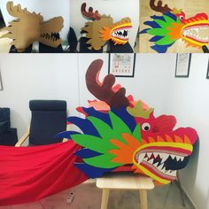 Chinese New Year Crafts For Kids, Chinese New Year Party, Chinese New Year Decorations, Chinese Crafts, Art For Kids, Dragon Kite, Dragon Mask, Make A Dragon, Toddler Art Projects
