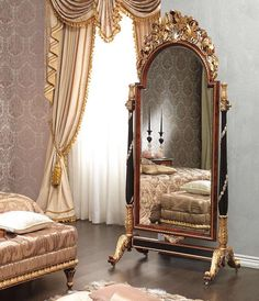 Classic bedroom Emperador Black, Louis XV style, carved mirror on wheels, black and gold, with florals motifs. Italian craftsmanship.  ➤ Discover the season's newest designs and inspirations. Visit us at http://www.wallmirrors.eu #wallmirrors #wallmirrorideas #uniquemirrors @WallMirrorsBlog