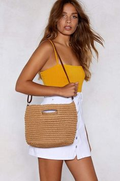 The Like a Straw in the Wind Bag features an open top, grab handles, and optional vegan leather shoulder strap. Vegan Handbags, Vegan Fashion, New Shop, Nasty Gal, New Trends, Vegan Leather, Straw Bag, Shopping Bag, Tote Bag