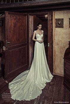 julia kontogruni 2017 bridal cap sleeves sweetheart neckline heavily embellished bodice satin skirt romantic pretty a  line wedding dress kehyole back long train (18) mv -- Julia Kontogruni 2017 Wedding Dresses