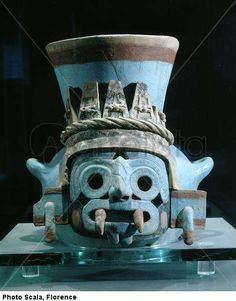aztec art urn of the god tlaloc from tomb n 21 of the temple mayor museo templo mayor