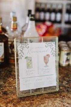 Gold float frame, torn edge sign, cocktail sign, drink menu, wedding inspiration