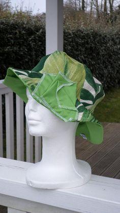 chapeau souple d'été femme lin'eva confortable en coton printemps été vert et blanc cassé fait main création lin et coton