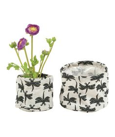 Take a look at this Gray Dragonfly Flower Pot Cover Set by rockflowerpaper on #zulily today!