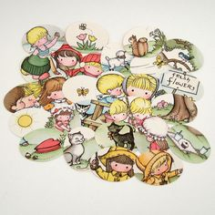 Joan Walsh Anglund illustration punches Vintage by ChaosSupplies