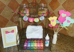 Would love to do this at my baby shower Onesie Decorating Station at a Baby Girl Shower Shower Time, Baby Shower Fun, Baby Shower Gender Reveal, Shower Party, Baby Shower Parties, Baby Boy Shower, Baby Shower Gifts, Baby Gifts, Onesie Decorating