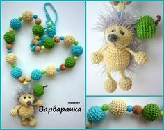 Nursing necklace  with amigurumi hedgehog from varvarachka by DaWanda.com