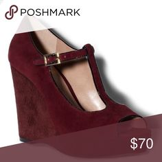 Vince Camuto Wedges Suede peep toe wedges from Vince Camuto. Color is deep purple with black piping at edges. Two small marks shown in last two pictures. Vince Camuto Shoes Wedges
