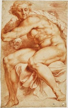 Drawing after Michelangelo. 1630-33. Peter Paul Rubens. Flemish. 1577-1640. red chalk on paper. British Museum. UK.