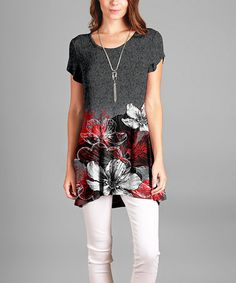 Look what I found on #zulily! Gray & Red Floral Tunic #zulilyfinds