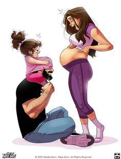 Cute Couple Comics, Couples Comics, Couple Cartoon, Cute Comics, Funny Comics, Paar Illustration, Yehuda Devir, Relationship Comics, Belly Belly