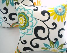 yellow and turquoise fabric - to slipcover chairs in hallway with yellow walls and turquoise curtains