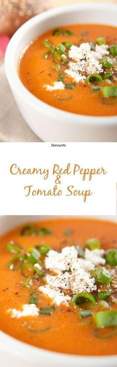 This Creamy Red Pepper and Tomato Soup is a super great option for a cold fall night-plus it's only 199 calories per serving!