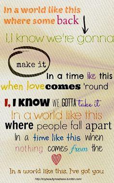 In A World Like This - Backstreet Boys {I've got u}