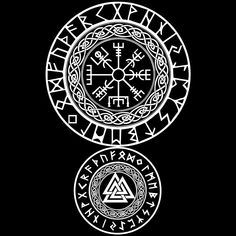 Vegvisir, viking protection symbol serving as runic compass, often called See the Way. / Valknut, viking symbol of protection known as symbol of Odin. Viking Tattoo Sleeve, Viking Tattoo Symbol, Norse Tattoo, Celtic Tattoos, Viking Tattoos, Warrior Tattoos, Armor Tattoo, Wiccan Tattoos, Indian Tattoos