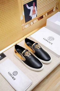 Versace Versace New Size 18059955283 Versace Brand, Versace Logo, Versace Versace, Versace Sneakers, Versace Shoes, Versace Mens Belt, Painted Shoes, Leather Slip Ons, Shoe Collection