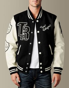 Own this seasons most stylish outer wear delivery - the Letterman Jacket. Classic athletic wear is a vintage lovers dream with traditionalchenille. High School Letterman Jacket, Letterman Jacket Patches, Varsity Jacket Outfit, Varsity Letterman Jackets, Mens High Collar Shirts, Senior Jackets, Cool Jackets, Edgy Outfits, Athletic Wear