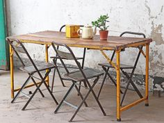 View our Vintage Folding Table Wood and Metal - Yellow from the collection Classic Dining Room Furniture, Vintage Outdoor Furniture, Outdoor Garden Furniture, Unique Furniture, Kitchen Furniture, Vintage Table, Vintage Kitchen, Shabby Chic Lanterns, Traditional Dining Room Sets