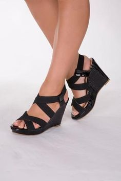 Drama Strappy Black Wedge Sandal